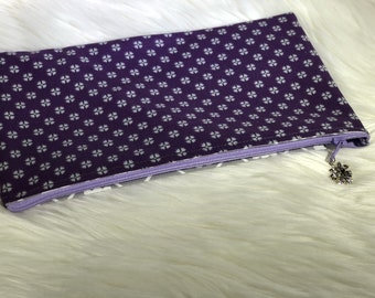 6x10 purple and grey zipper pouch