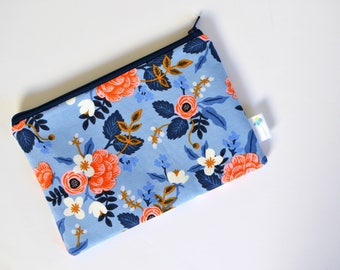 Floral Zipper Bag, Rifle Paper Co, Small Makeup Bag, Small Zipper Pouch Utility Pouch Cosmetic Bag Small Clutch Purse Insert Bridesmaid Gift