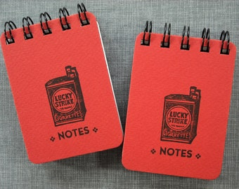 Letterpress Journal -  Spiral Bound Sketch Book - ACEO ATC sized - Lucky Strikes