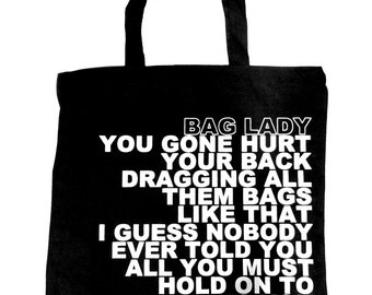 Bag Lady Tote Black & White