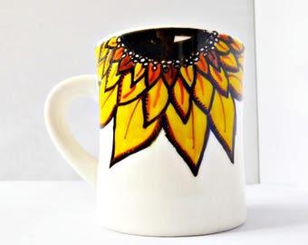Sunflower Mug, Fall Mug, Diner Mug, Ceramic, Coffee Cup, Tea, Autumn, Pumpkin Spice, Personalized, Floral, Flower, Gift for Her, Farmhouse