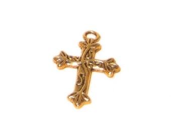 16 x 24mm Gold Cross - 2 crosses