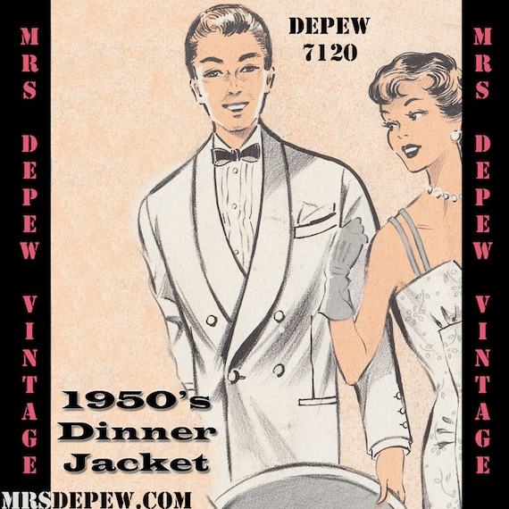 Men's Vintage Reproduction Sewing Patterns 1950s Jacket Menswear Vintage Sewing Pattern Mens Formal Tuxedo Jacket and Trousers in Any Size - PLUS Size Included - $8.50 AT vintagedancer.com