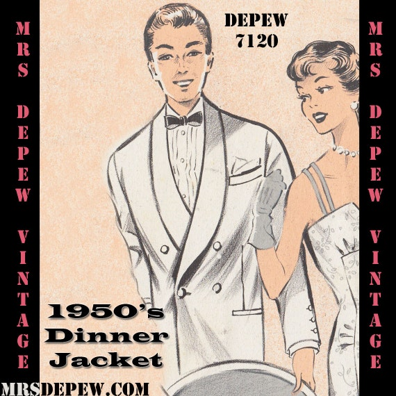 1950s Tuxedos and Men's Wedding Suits 1950s Jacket Menswear Vintage Sewing Pattern Mens Formal Tuxedo Jacket and Trousers in Any Size - PLUS Size Included - $8.50 AT vintagedancer.com