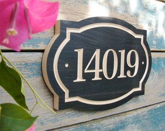 "11""x8"" Classic House Number Engraved Plaque (numbers only) Housewarming Gift, Realtor Gift, Address Sign, House Number, carved wood sign"