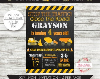 Editable Construction Invitation - Tonka Party Invitation - Digger Party  - INSTANT DOWNLOAD - Edit at Home with Adobe Reader Now!