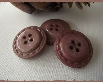 4 buttons Brown imitation leather 25 mm 2.5 cm 4 hole button 1 inch