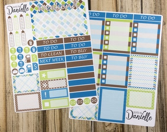 Green, Blue & Brown Weekly Planner Sticker Kit, Weekly Sticker Kit, Weekly Planner Kit, Weekly Kit, 2 page set of 60