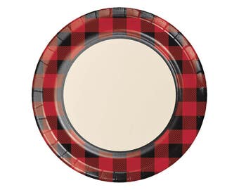 "9"" Buffalo Plaid Plates - Lumberjack Party - Buffalo Plaid Baby - Woodland Baby Shower - Baby Lumberjack - Bear Baby Shower - Flannel - Set"