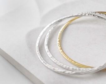 Skinny Personalized Bangle - Custom Name Bangle Bracelet - Coordinates Bracelets - Stacking Mantra Bracelets - Engraved Jewelry - #PB35