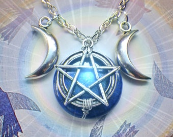 Lapis Lazuli Triple Goddess Pentacle necklace, made to order