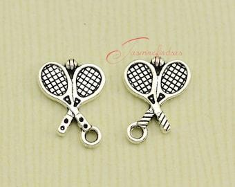 25PCS--20x15mm Tennis Racket Charms, Antique Tibetan Silver Tone Great Detail Tennis Racket charm pendants,Jewelry making.