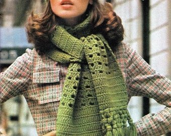 Crochet Womens Quick & Easy Crochet Hat / Scarf Pattern, Vintage Winter Cap and Scarf Crochet Pattern Caning Stitch  -PDF Download