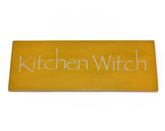 Kitchen Witch Wood Sign, Handmade painted wooden sign, wiccan wall decor, pagan home decor