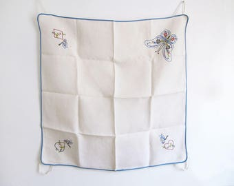 Vintage Tablecloth Featuring the 4 Card Suits Hand Embroidered on Linen