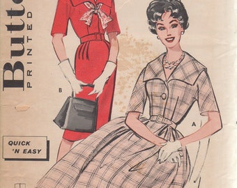 Bust 32-1950's Misses' Span Collared Dress Butterick 9131 Size 12