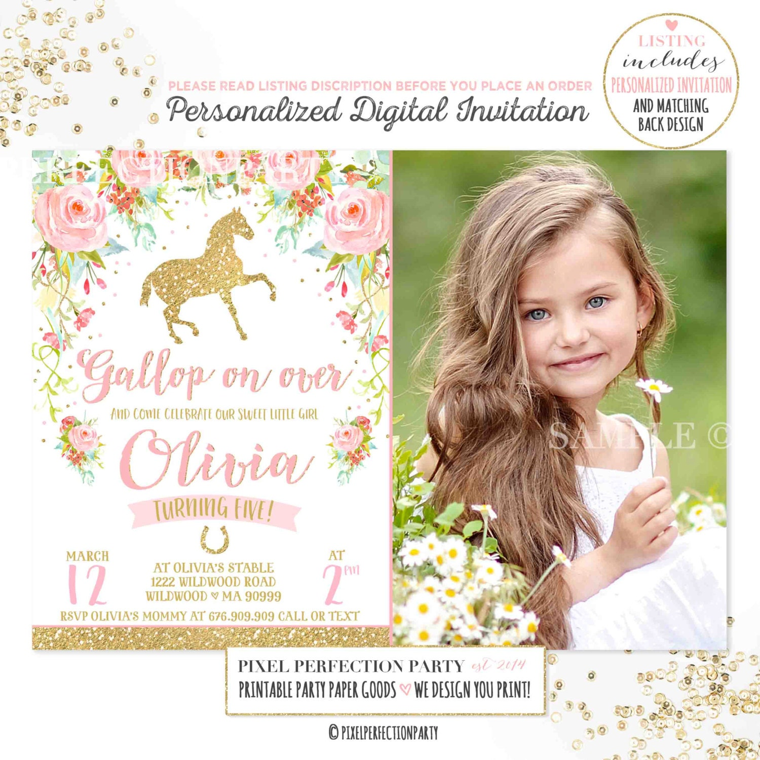 Horse Birthday Invitation Horse Invitation Floral Pink Gold