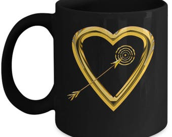 Love Struck Gold Heart Black Coffee Mug