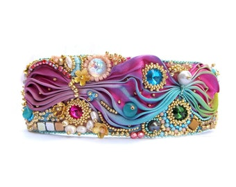 Shibori Bracelet, Cuff Bracelet, Colorful Handmade Jewelry, Hand Embroidery Cuff, Shibori Silk Bracelet with Crystals, Bead Embroidery