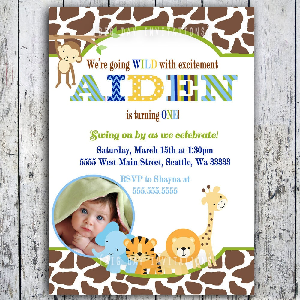 Safari Birthday Invitations Jungle Animal Theme Printable