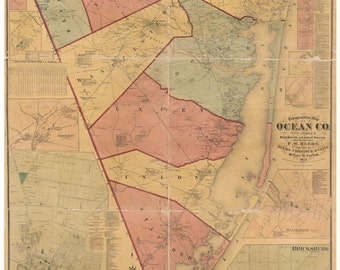 Ocean County New Jersey 1872  Old Wall Map -  Reprint with Homeowner Names