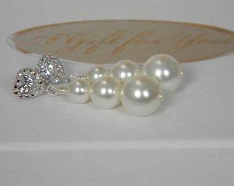 White Pearl Bridal Earrings, CZ Heart Pearl Wedding Earrings, Long Pearl Dangle Earrings, Swarovski Pearl Earrings, Pearl Drop Earrings SP3