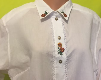 1980s White Embroidered Blouse, 2X