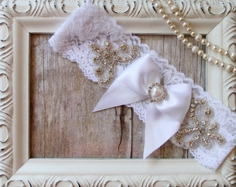 Wedding garter - Customizable Vintage Garter w/ Pearls and Rhinestones on Comfortable Lace, Wedding Garter, Toss Garter, Bridal shower gift