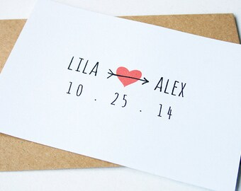 Wedding Save the Date -- Arrowed -- Customizable Set  -- ready to buy -- Heart/Arrow -- CHOOSE YOUR QUANTITY