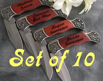 10 Engraved Pocket Knives  / Personalized Groomsman Gift /  Laser Engraved Rosewood Knife / Custom Wedding Gift / Personalized