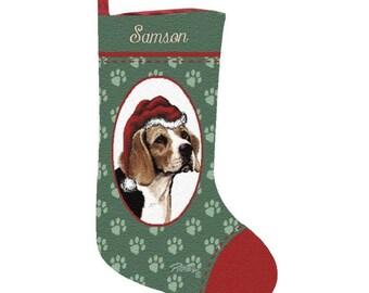 Beagle Dog Personalized Christmas Stocking