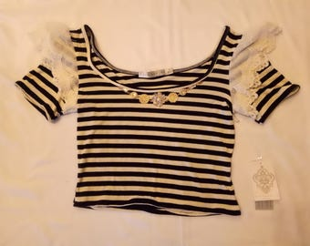 Upcycled Katie Hosking Black and White Striped Cropped T Shirt