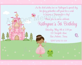 Princess Birthday Baby Shower Invitation DIY Printable Invitation