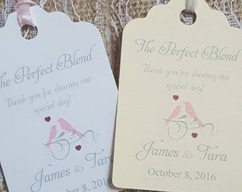 "Personalized Favor Tags 2.5""L x1.8""w, Wedding tags, Thank You tags, Favor tags, Gift tags, Bridal Shower Favor Tags, Wedding love birds"