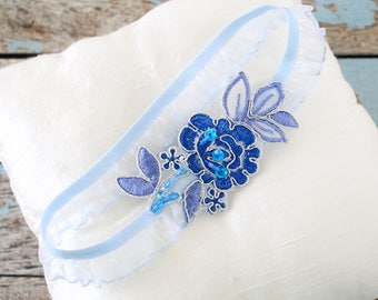 Wedding Garter , Blue Flower Lace with Ruffle Elastic Garter, Something Blue,Blue Wedding Garte, Bridal Blue Garter Belt / GT-34A