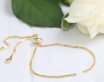 24K Gold Plated Box Chain, 12cm, Ready Chain, Zircon Chain, Finished Box Chain, Box Chain Bracelet, Bracelet Chain, CH31