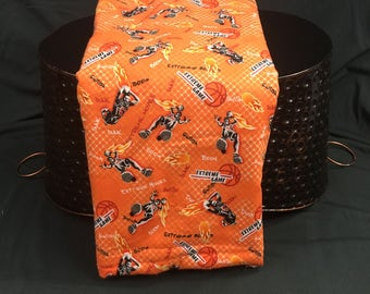 Basketball Flannel Fabric, Novelty Print Fabric, Basketball Terms, Flames, Orange Flannel, JoAnn Fabric, 2 Yards, 42 Wide, Sports Fabric
