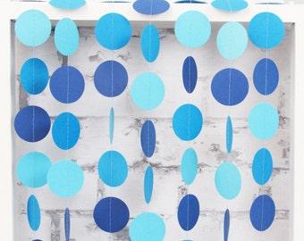 Blue Ombre Paper Garland - Boy Baby Shower Decor - Blue Party Decoration
