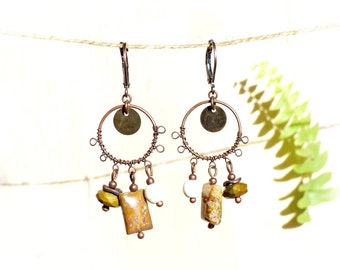 Copper rustic earrings. Lime green and copper chandelier earrings. Rustic metal piece