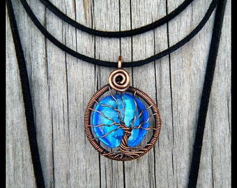 Tree of Life pendant, Vintage copper, sky blue glass bead, Bolo Tie Style !