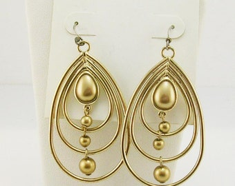 Trifari Faux Pearl Dangle Hoop Earrings PIERCED  2 3/8""