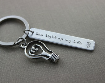 You light up my life aluminum silver Hand Stamped Keychain Long Rectangle, lightbulb with heart gift for electrician - light bulb charm