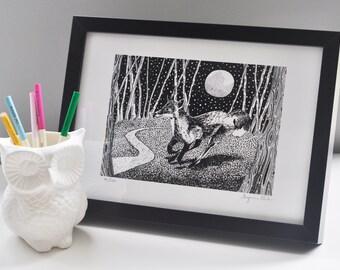 Running Fox Screen Print Limited Edition Black Ink Illustration 29.7cm x 21cm