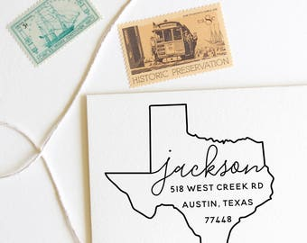 Texas return address stamp, state, self inking stamp or rubber stamp wood handle