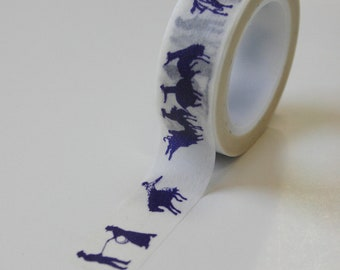Washi Tape - 15mm - Navy Western - Horses - Deco Paper Tape No. 301