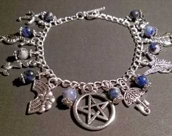 Pagan/Wiccan Charm Bracelet - Elements - Water - with Sodalite Beads. Pentacle, Wicca, Witch, Goddess, Nature