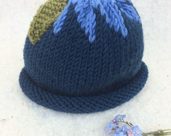 Blueberry baby hat, 6-24 month sized hat, baby fruit hat, blue knit hat, hand knit baby hat