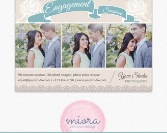 Engagement Mini Session Photoshop Template for Photographer - Photography Marketing Material - INSTANT DOWNLOAD - MS011