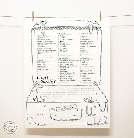 Doodle Travel Checklist  Packing Planner  Organizer