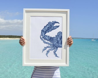 Blue  crab Wall decor poster A3 plus  -The big crab sea life print SAS007A3P